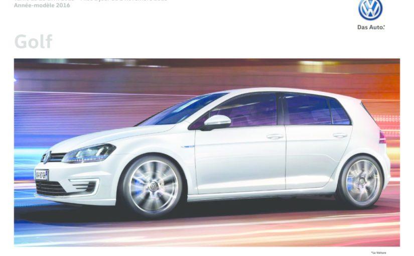 Tarifs Volkswagen Golf 7 du 2 Novembre 2015